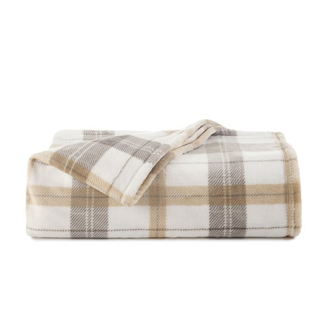 Vellux Allen Plaid Printed Plush Blanket