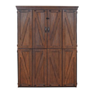 Steeplechase Queen Murphy Bed in Distressed Brown Finish