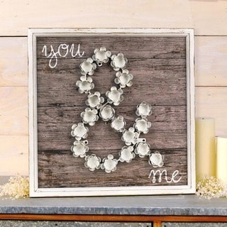 White and Grey Wood and Metal You & Me Plaque