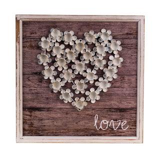 White/Grey Wood/Metal 'Love' Plaque