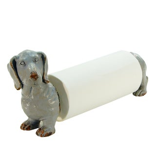 Dog Grey Metal and Resin Paper Towel Holder Figurine