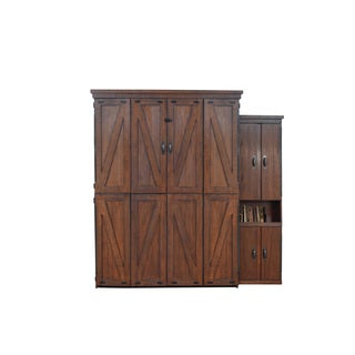 Steeplechase Queen Murphy Bed with one Door Bookcase in Distressed Brown Finish