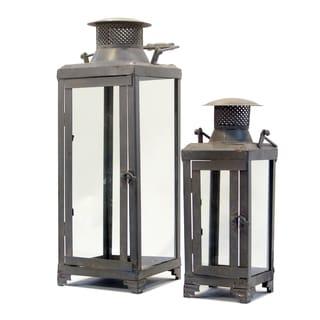 Grey Metal Lanterns (Set of 2)