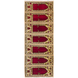 eCarpetGallery Melis Red/Yellow Wool Hand-knotted Vintage-style Rug (4'2 x 10'11)