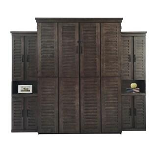 Zen Queen Murphy Bed with Two Door Bookcases in Mahogany Grey Finish