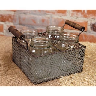 Silver Metal Basket with Wood Handles and 4 Glass Jars