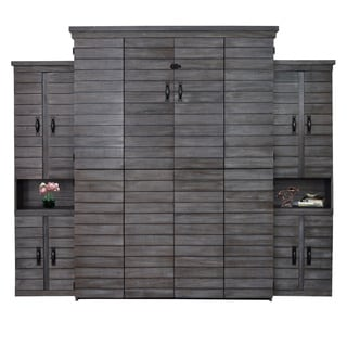 Farmhouse Shiplap Queen Murphy Bed with Two Door Bookcase in Grey/White Finish