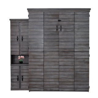 Farmhouse Shiplap Queen Murphy Bed wih One Door Bookcase in Grey/White Finish