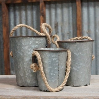 Grey Metal and Rope Buckets (Set of 3)