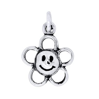 BSE Sterling Silver Happy Face Flower Charm