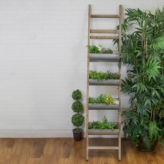 Multicolor Wood and Metal Ladder-design Wall Planter