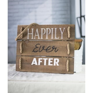 White/Black/Brown Wood/Rope 'Happily Ever After' Sign