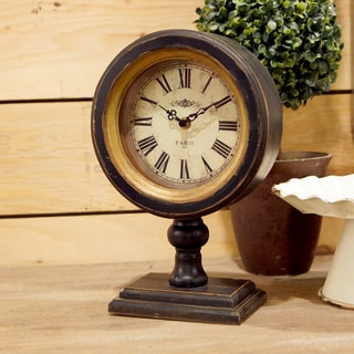 Brown Wood/Glass Table Clock