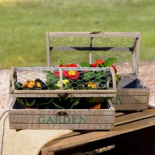 Wooden Planter Box With Mesh Top (Set of 2)