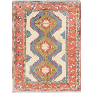 eCarpetGallery Blue/Brown Wool Hand-knotted Ushak Rug (6'4 x 8'4)