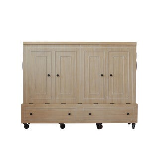 Queen Size Mobile Murphy Bed in Natural Finish