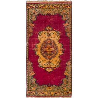 eCarpetGallery Red Wool/Cotton Hand-knotted Medallion-pattern Color-transition Rug (4'10 x 10'5)