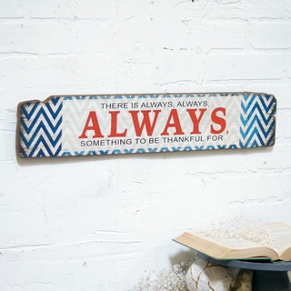 'Always' Red/Off-white/Blue Wood 24-inch Wall Art