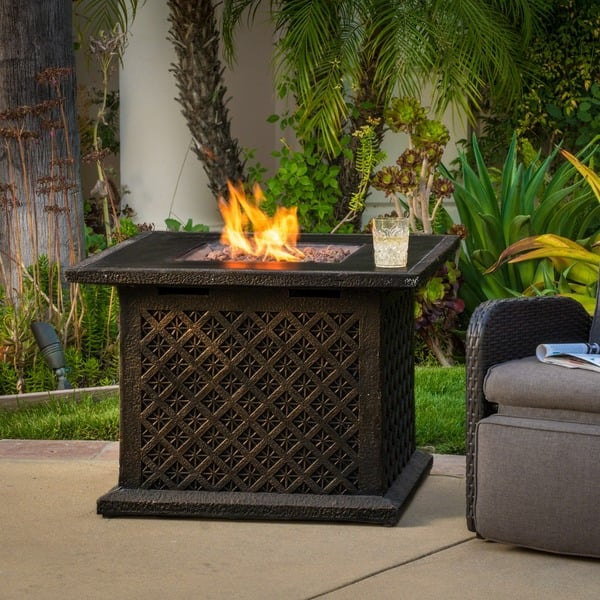 Manila Outdoor 33 Square Propane Fire Pit With Lava Rocks By Christopher Knight Home Overstock 12916109