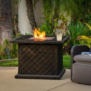 "Christopher Knight Home Manila Outdoor 33"" Square Propane Fire Pit with Lava Rocks"