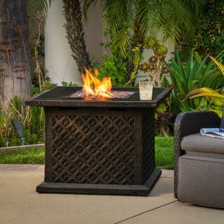 """Manila Outdoor 33"""" Square Propane Fire Pit with Lava Rocks by Christopher Knight Home"""