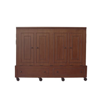 Queen Size Mobile Murphy Bed in Mahogany Finish