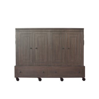 Queen Size Mobile Murphy Bed in Mahogany Grey Finish