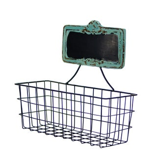 Metal Chalkboard Tag Wall Basket