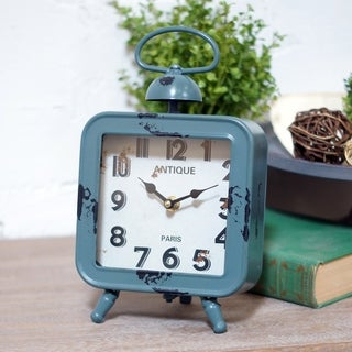 Blue Metal/Glass Table Clock