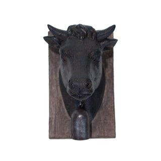 Black and Brown Metal and Resin Cow Wall Plaque