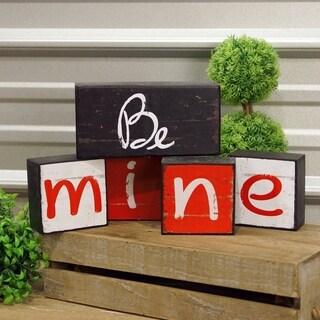 'Be Mine' Wood Block Art
