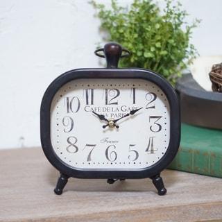 White/Black Metal 9-inch Framed Table Clock