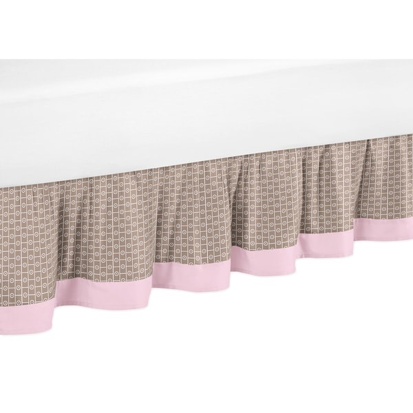Sweet Jojo Designs Pink and Taupe Mod Elephant Queen-size Bedskirt