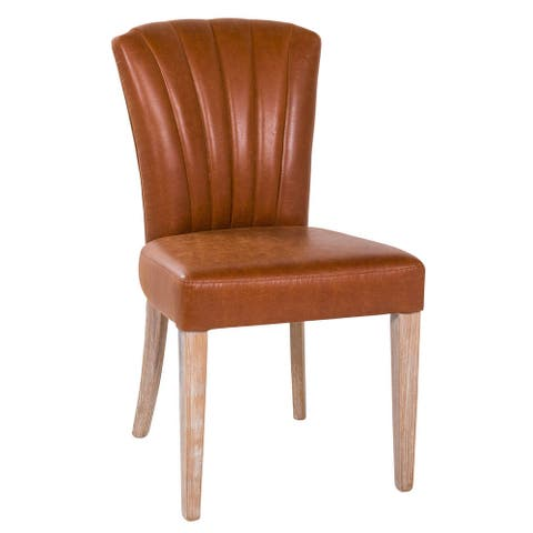 Harvest Leather Scalloped Dining Chair