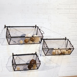 Black Metal Wall Baskets (Pack of 3)
