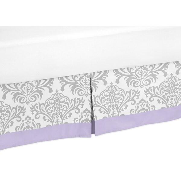 Sweet Jojo Designs Lavender and Grey Elizabeth Queen-size Bedskirt