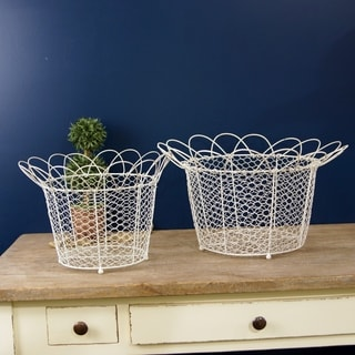 White Metal Baskets (Set of 2)
