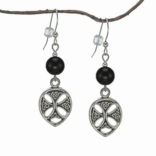Jewelry by Dawn Black Glass Pewter Celtic Teardrop Earrings