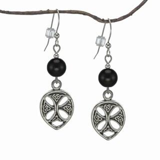 Jewelry by Dawn Black Glass Pewter Celtic Teardrop Earrings