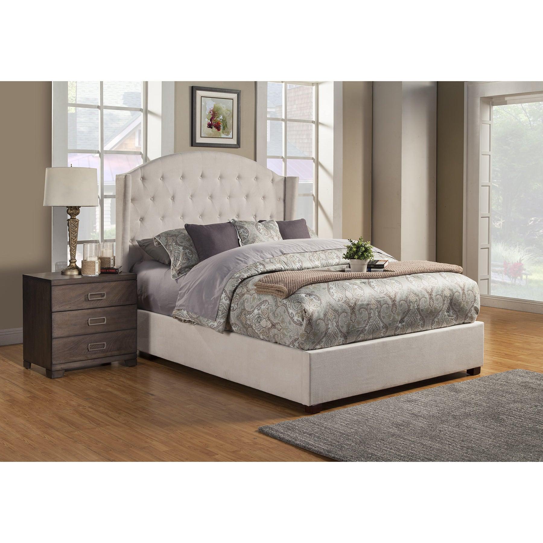 Alpine Ava Cream (Ivory) Wood Tufted Upholstered Bed (Eas...