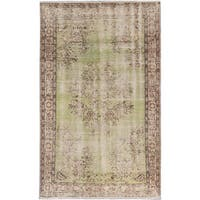 eCarpetGallery Hand-knotted Melis Vintage Green/Ivory Wool Rug (5'4 x 8'5)