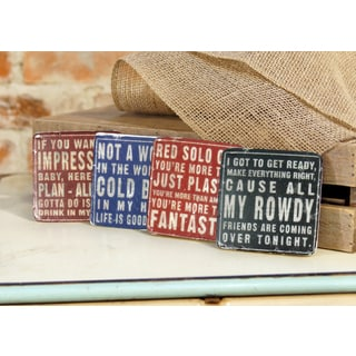 Country Songs Multicolored Resin Coasters (Pack of 4)