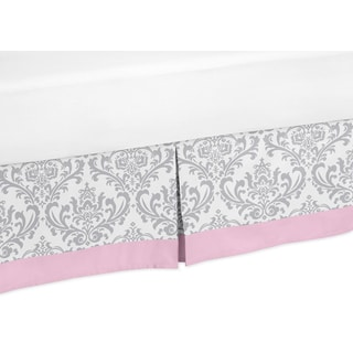 Sweet Jojo Designs Pink and Grey Elizabeth Queen-size Bedskirt