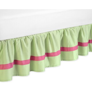 Sweet Jojo Designs Pink and Green Flower Queen-size Bedskirt