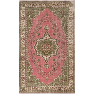 Hand-knotted Anatolian Green and Pink Sunwashed Wool Area Rug (6'2 x 10'4)