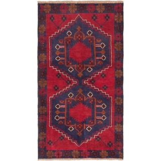 eCarpetGallery Blue/Red Wool Hand-knotted Kazak Rug (3'6 x 6'3)