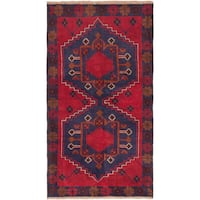 eCarpetGallery Blue/Red Wool Hand-knotted Kazak Rug (3'6 x 6'3)