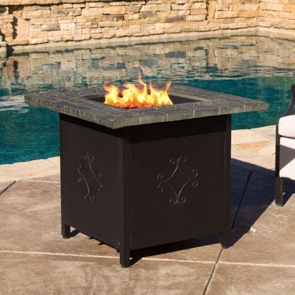 Tiburon Outdoor 30 Inch Square Propane Fire Pit With Lava Rocks