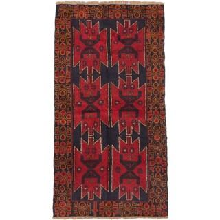 eCarpetGallery Kazak Blue/Red Hand-knotted Wool Rug (3'4 x 6'4)