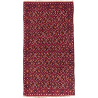 ecarpetgallery Hand-Knotted Baluch Red  Wool Rug (3'7 x 6'3)